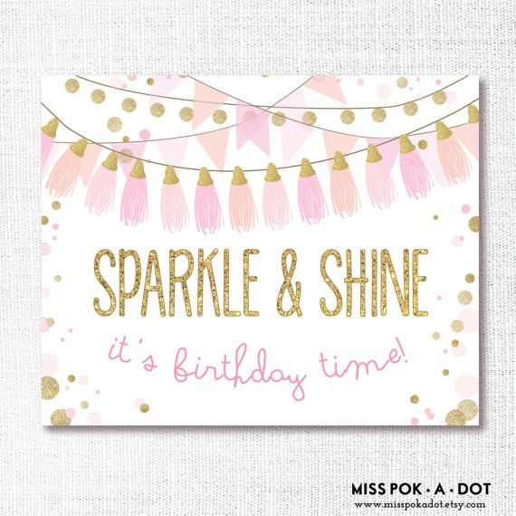 Coordinating with the Sparkle and Shine invitation, welcome your guests and set the tone of the party right from the start with this sign. Just print, cut, frame or mount and hang!  File contains 1 8x10 PDF  This is an INSTANT download which means the files will be instantly available and CAN NOT be personalized.  To order a personalized/customized file, please use this listing instead: https://www.etsy.com/listing/187353828/custom-welcome-sign-digital-file-made-...