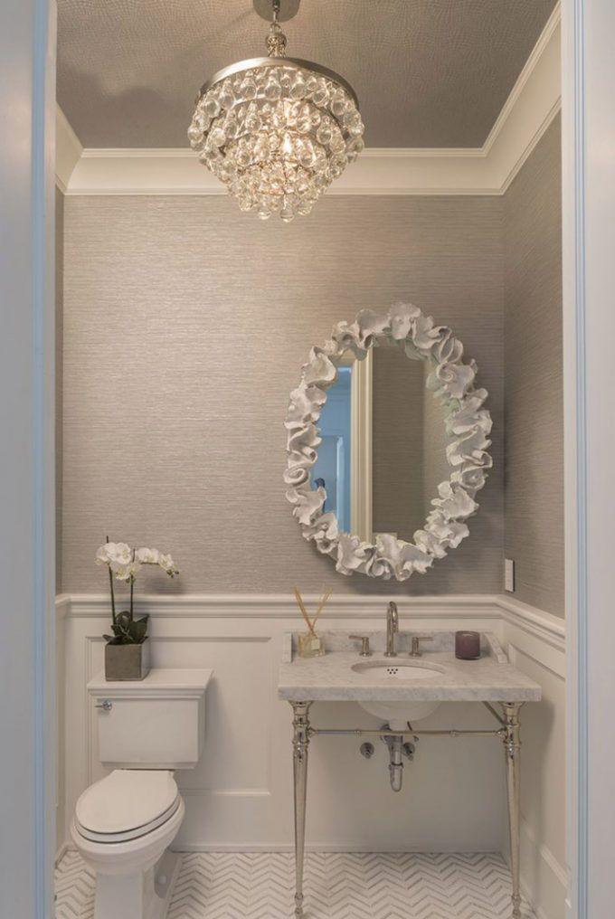 Bathroom Chandelier Lighting Ideas Modren Chandelier Powder Room Within Beautif Bathroom Chandelier Lighting Bathroom Chandelier Wallpaper Accent Wall Bathroom