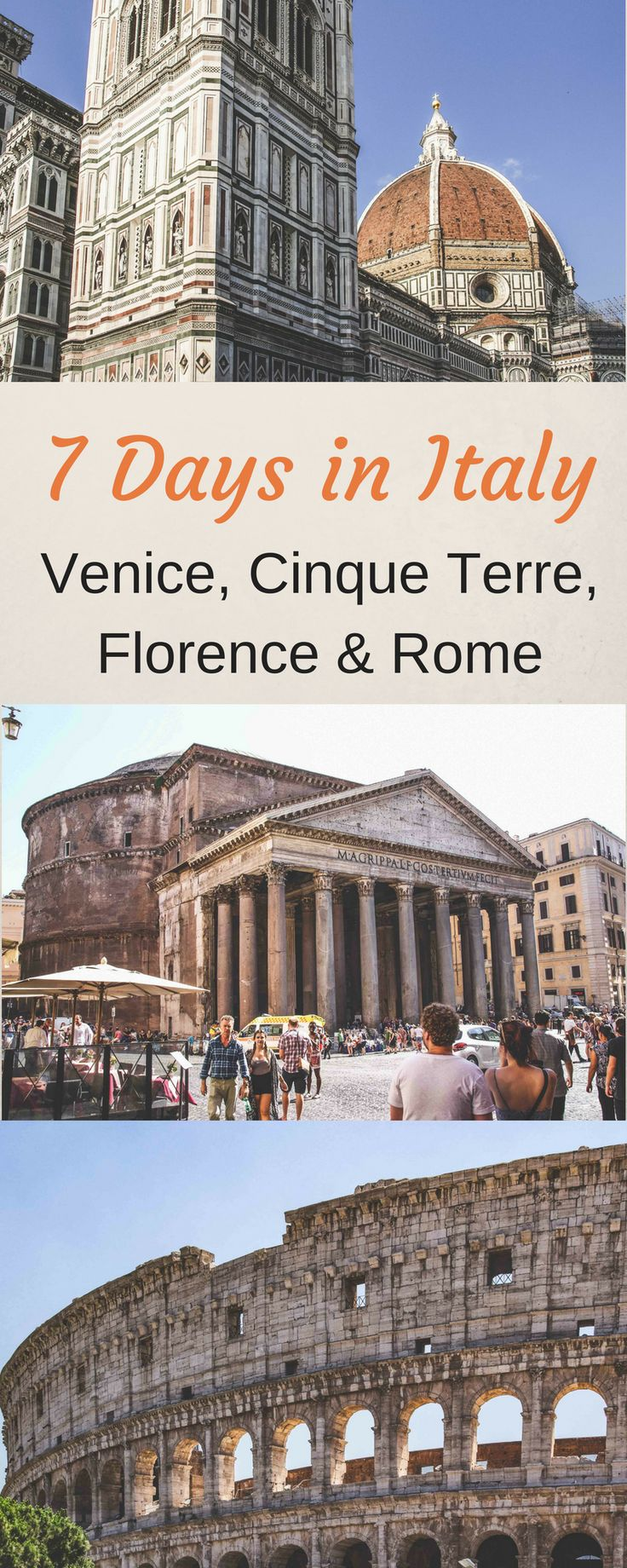 7 days in Italy Itinerary - 1 Week in Italy Itinerary - Venice, Cinque Terre, Florence, Rome - Highlights of Italy - Best of Italy - Italy Travel - Italy Vacation #Italy #Italiytrip #Venice #Florence #Rome