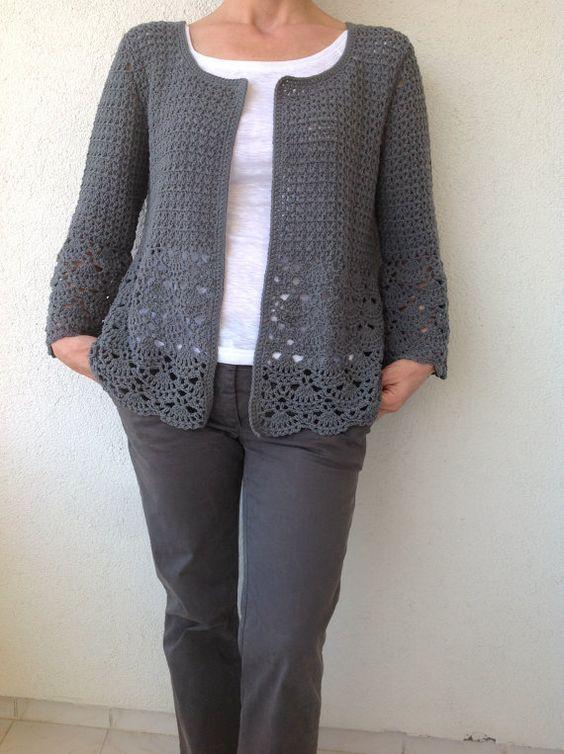 Le donne Crochet Cardigan/Gray Crochet Jacked/uncinetto cotone Cardigan/grigio cotone Crochet donne delle cardigan