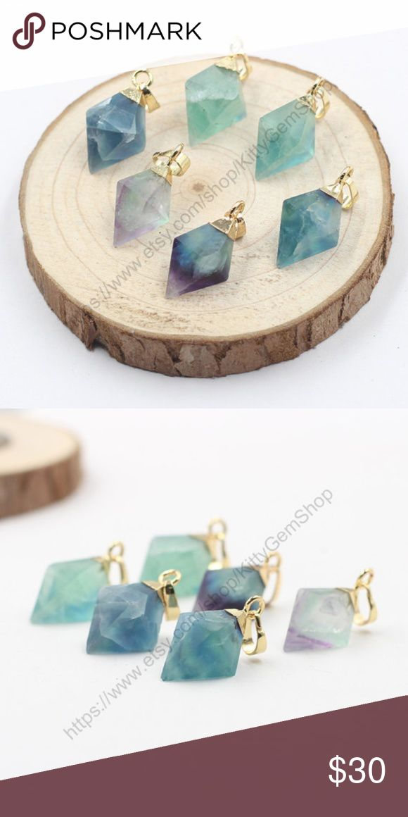 "COMING SOON- Diamond Shaped Fluorite Necklace Beautiful Genuine fluorite in a gold plated setting. Chain is gold plated and lead and nickel free. Chain is 18"" in length with a lobster clasp.  Size of stone is approx 25*14*14 mm Jewelry Necklaces"