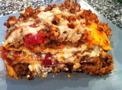 """""""Just Like The Real Thing"""" LASAGNA!! with faux pasta made with cream cheese"""