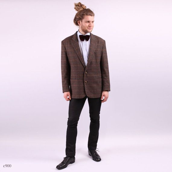 Checked Mens Blazer / Brown Mens Wool Blazer / sz by BetaPorHomme, $44.00