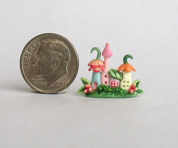 Miniature Fairy Blossom House Colony OOAK by by ArtisticSpirit