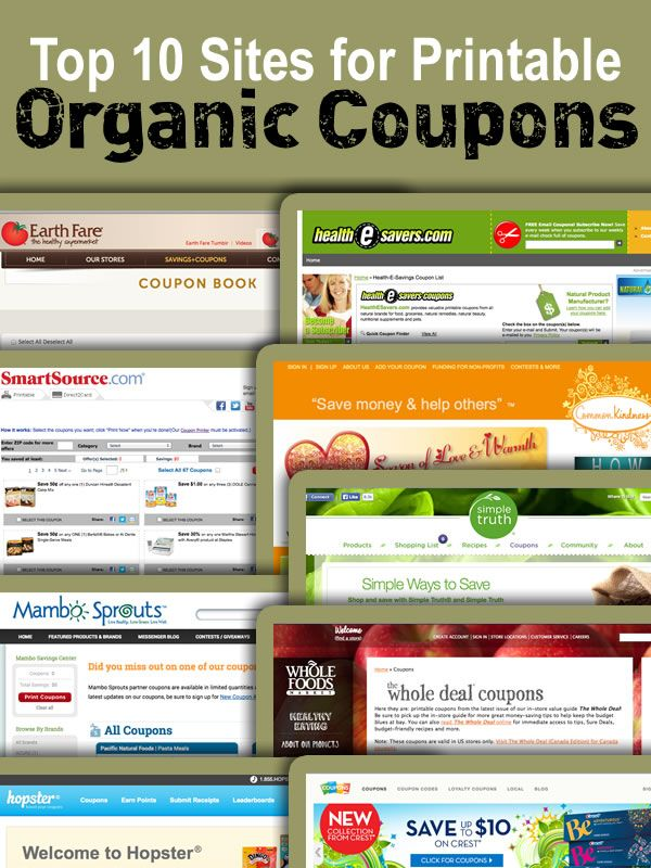 Here are several Printable Organic Food Coupons resources that you can use to find organic coupons on your own before you head out to the store.