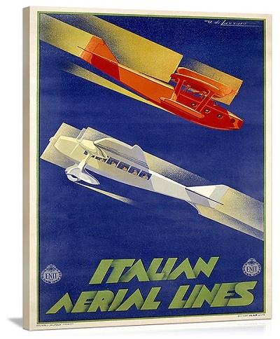 Alitalia Italian Airlines Vintage Printed On Canvas