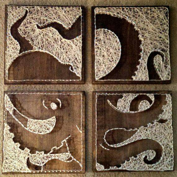 Octopus string art... Not so much the octopus but the idea