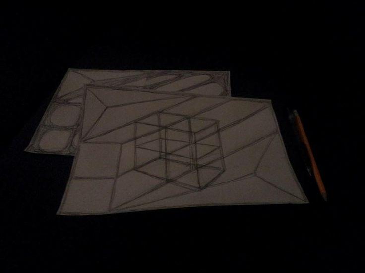 3d, optical illusion, pensil/pen drawing