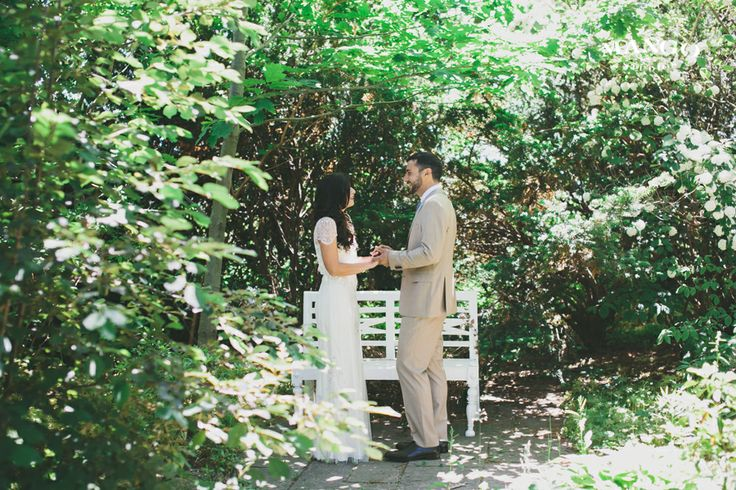 Sincere Gasps #weddings #bride #groom #white #brown #black #outdoors #bench #standing #firstlook #alonetogether #photography #mangostudios photography by Mango Studios