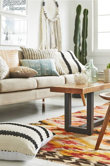 neutral bohemian living room decor
