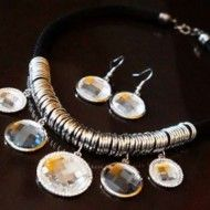Necklace Carved Stones and Silvered Rings + Earrings