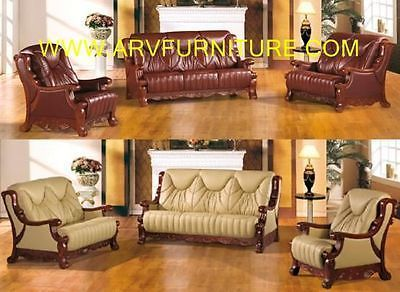 Best Ac Classic 3Pc Genuine Leather Sofa Set Furniture 640 x 480