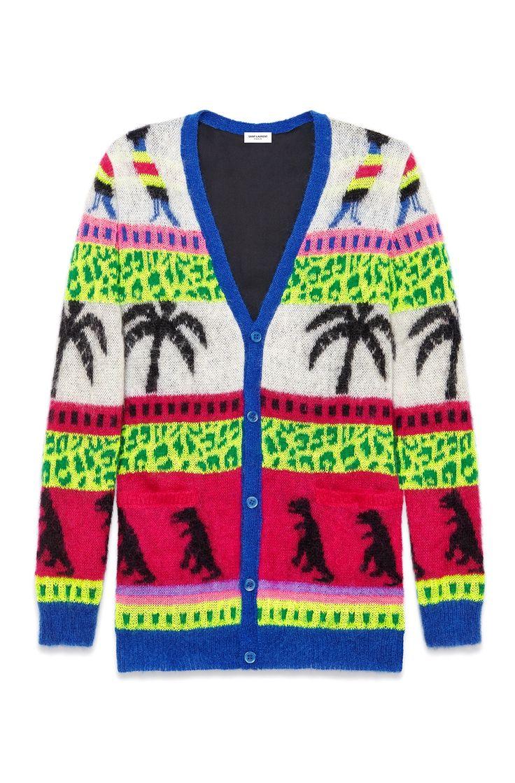 Saint Laurent Men's Dinosaur And Palm Mohair Jacquard Sweater Cardigan