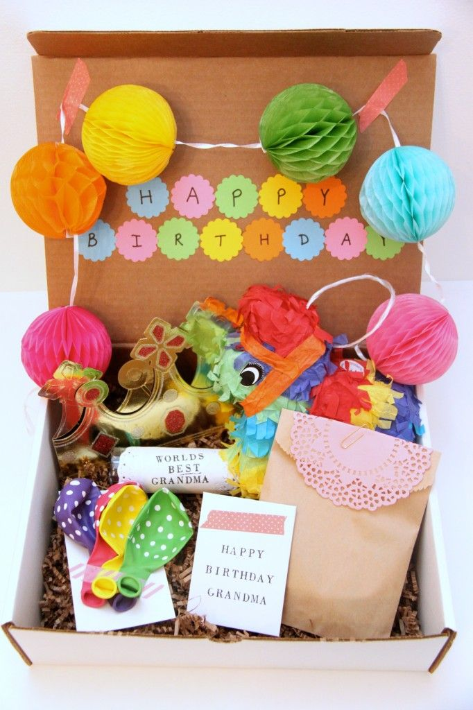 A really cute Birthday-In-a-Box gift to send to someone who doesn't live close to you. Love that mini piñata!