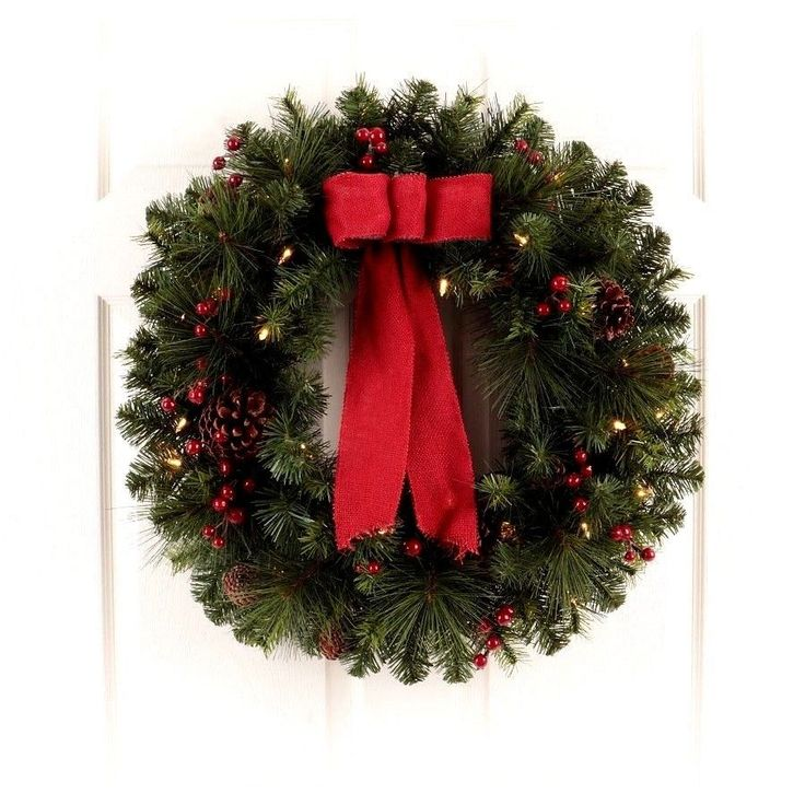 """#Prelit #Decorated #Artificial #Pine #Christmas #Wreath Warm #White LED Lights 28"""" New #Philips"""