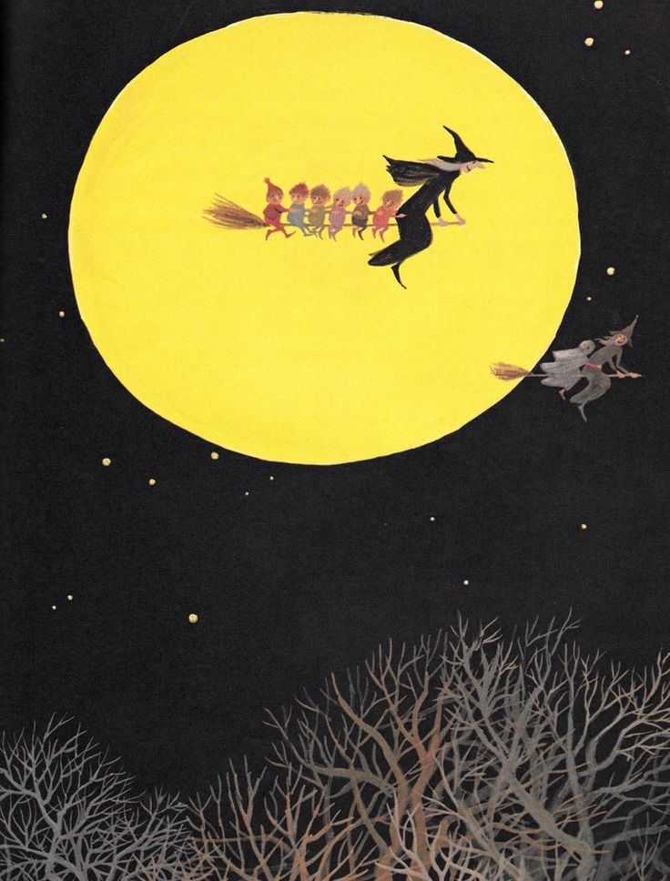 """Graphic from """"The Halloween Party"""" (1974), illustration by Adrienne Adams"""