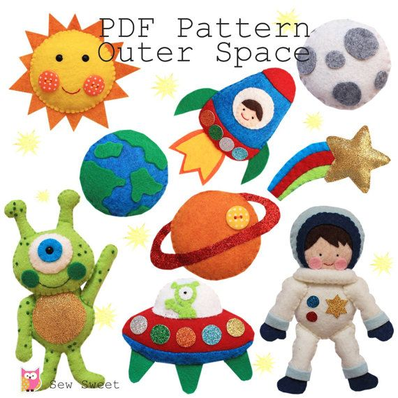 Outer Space PDF pattern, astronaut, rocket, alien, cot mobile, hanging ornaments, spaceship, planets, diy, sew your own, sewing, wool felt