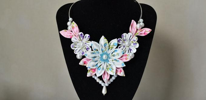 How to Make a Handmade Ribbon Flower Collar Necklace with Pearls Decorated