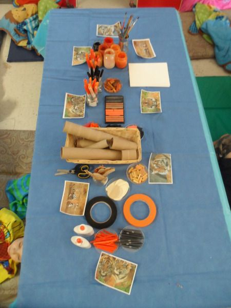 """After the children were comparing lions & tigers, a provocation was created to encourage the children to observe the characteristics of a tiger - from Maryam Lumpkin on reggio-inspired ("""",)"""