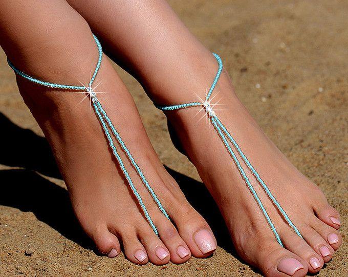 Perline Mint sandali a piedi nudi, sandali a piedi nudi, spiaggia matrimonio a piedi nudi sandalo, scarpe a piedi nudi Pearl, scarpe da sposa, senza piede sandalo, cavigliera
