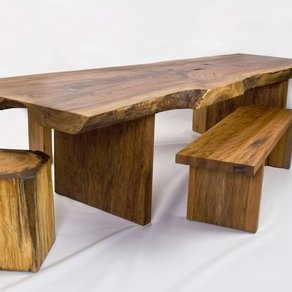 Strawn Table and Seats by David Stine Woodworking
