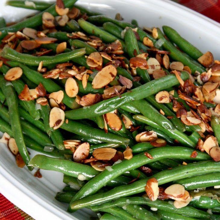 Green Beans Almondine Recipe Side Dishes with fresh green bean, slivered almonds, butter, shallots, garlic, water, salt, pepper