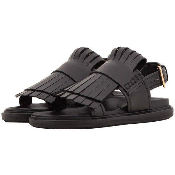 Marni Black Fussbett Fringe Sandals (585 AUD) ❤ liked on Polyvore featuring shoes, sandals, fringe, black shoes, sling back sandals, slingback sandals, black leather sandals and black leather shoes
