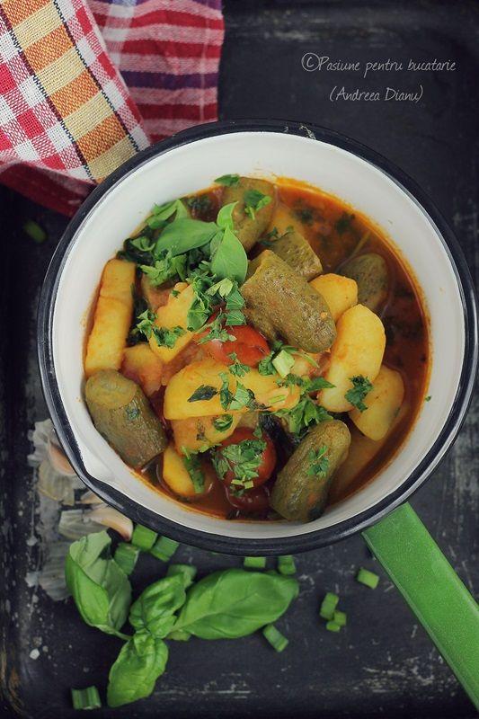 Mancare de cartofi cu rosii cherry si castraveti murati - Pasiune pentru bucatarie- Retete culinare