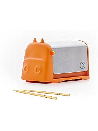 Darling Little Cattle Toothpick Dispenser, Amazing Whimsical Design Looks Like Creative Colorful Cartoon Cow, Press the Top and Toothpick Comes Out Back