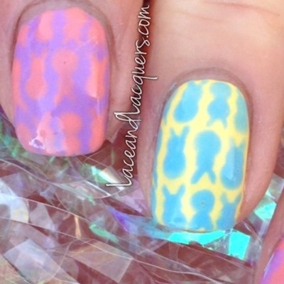 Lace and Lacquers: Peeps Bunny Easter Nails - plus TUTORIAL
