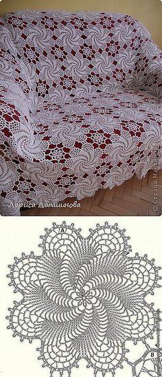 "МК ""Красивый узор для покрывала"".. | вязание крючком | Постила--This crochet motif would make a lovely gift doily."