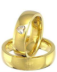 Vielsesringe i guld med hjertebrilliant