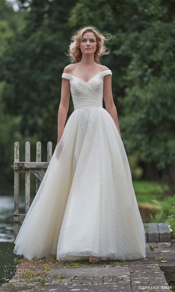 stephanie allin bridal 2016 ravello wedding dress off shoulder surplice bodice a line ball gown silhouette