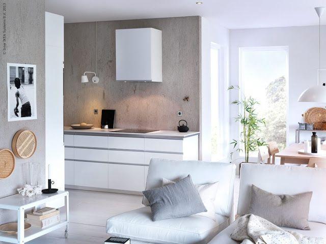 Mooi Scandinavisch, gaaf idee, die beton look op de muur