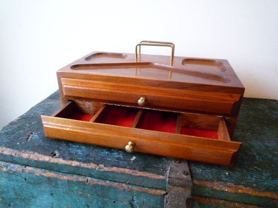 Vintage Wooden Mens Valet Charging Station by ShantyIrishVintage Vintage Wooden Mens Valet, Charging Station, Unisex Wood Dresser Caddy, Midcentury Dresser Organizer. Ample storage with 2 drawers each with 6 divided sections. More open storage on top tray. Great charging station for your phone as well. #mensValet #midcenturyValet #vintageDresserCaddy #midcenturyDresserOrganizer #valentinesDayGift #chargingStation