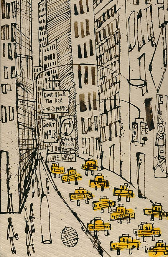 New York City Taxi con segno, disegno, arte stampa, New York pittura, Street di Manhattan, a piedi, One Way, Dont NYC segno, grattacieli Clare Caulfield