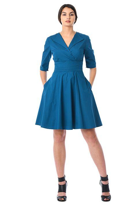 I <3 this Banded empire poplin surplice dress from eShakti