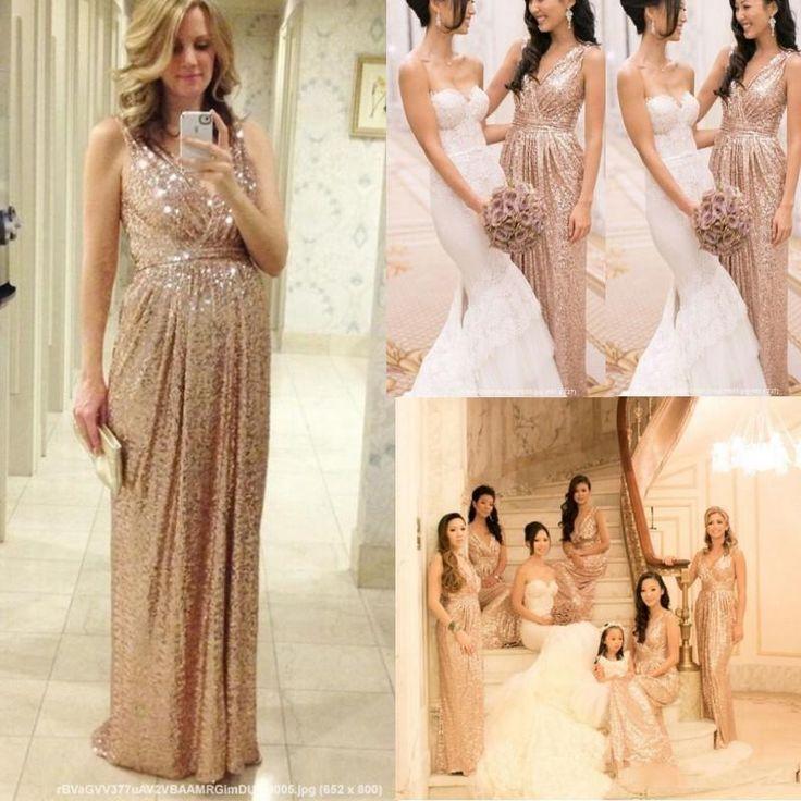 Hot sale rose gold bridesmaid dresses 2015 cheap v neck for Champagne gold wedding dress