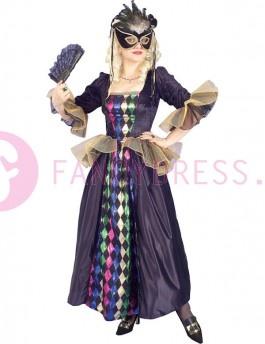 Dit Carnaval Koningin kostuum bestaat uit:  Een lange donkere jurk.    Voeg zelf het masker en waaier toe voor het gewenste effect.
