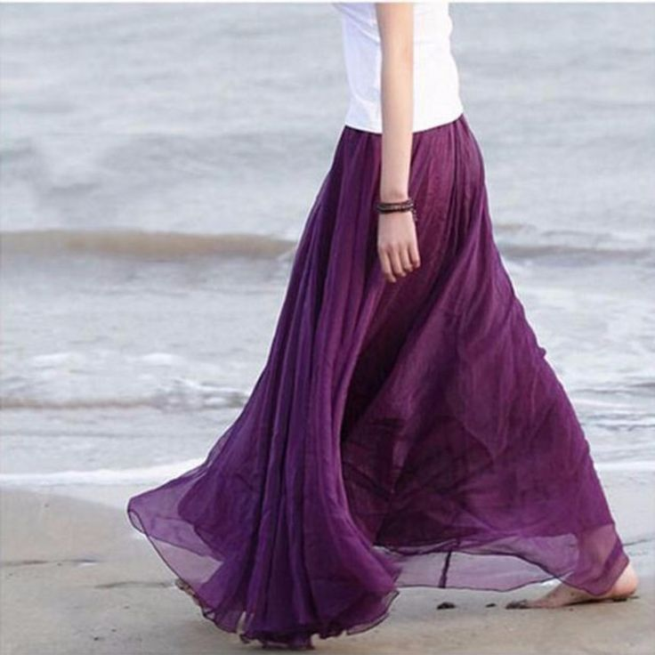 You will never run out of style with this maxi skirt. This features multi layer chiffon skirt, pleated design, elastic waistband and inner lining. Made from polyester material. This skirt can be conve