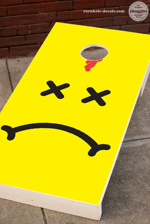 Not-So-Smiley Cornhole Decal.  Available at: http://www.cornhole-decals.com/products-page/cornhole-decals/not-so-smiley-face-cornhole-decal/