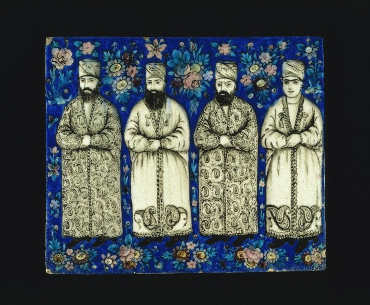 Molded tile, Persian, mid-19th century.