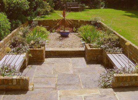 Sunken garden ideas garden pinterest gardens garden for Small split level garden ideas