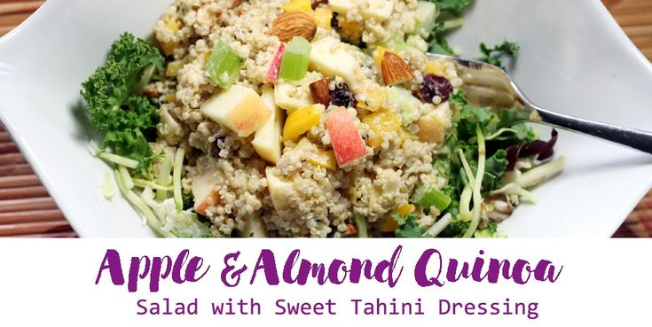 Apple & Almond Quinoa Salad. Easy salad to make for quick lunches. This recipe is a great for meal planning for a 5-day work week pack and lunch to go!