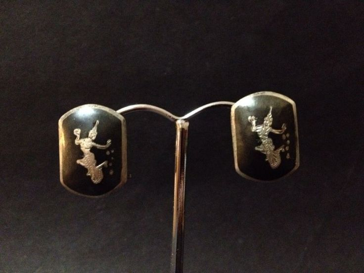Vintage Thai Niello Black Sterling Silver Earrings - Stamped Siam Sterling