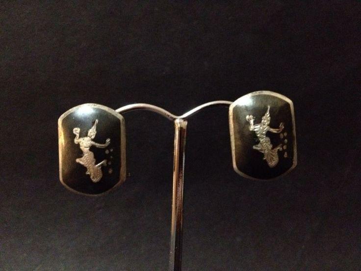 Vintage Thai Niello Black Sterling Silver Earrings - Stamped Siam Sterling