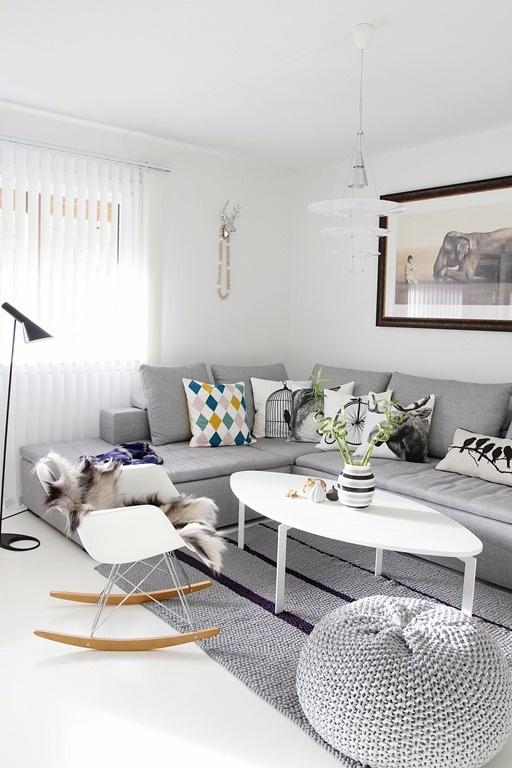 gray couch? check. Eames rocker? check. gray crochet pouff? check.