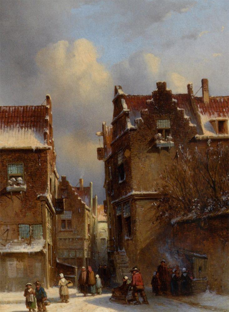 Petrus Gerardus Vertin - Kastanjes roosteren in een winters straatje (1857)