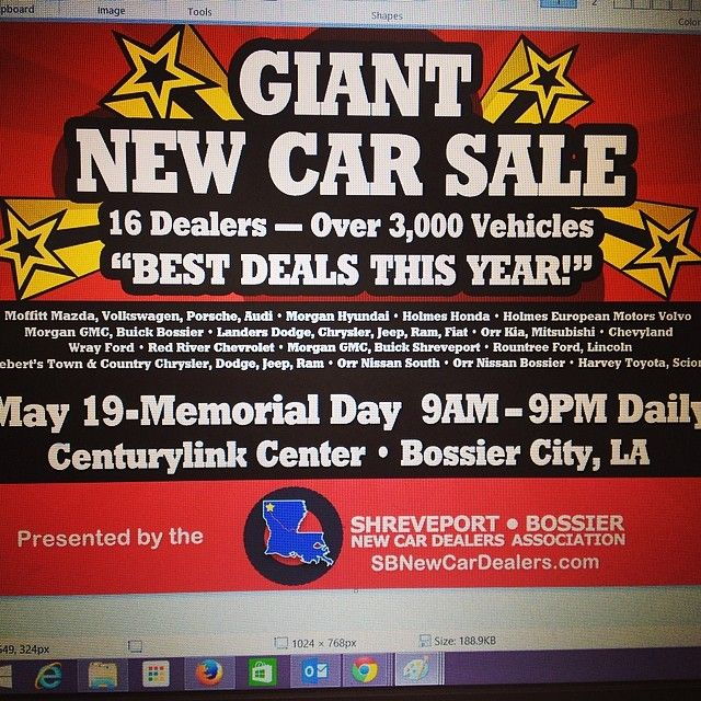 Ready to buy a new car? So many cars! All in ONE place! If you're looking for something fun to do check out the Giant New Car Sale at The CenturyLink Center now through Memorial Day!