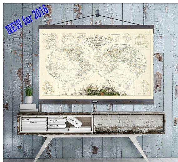 "NEW! Pull Down Map. World  Map on Canvas 1872. 60""w x 40""h,  Hanging Map, Antique Wall Map,"